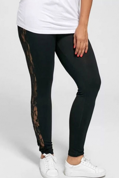Купить со скидкой Lace Insert Side Skinny Slim Leggings