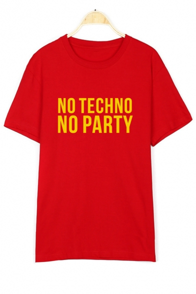Neck Letter TECHNO NO Tee Printed Round Sleeve Short npIxwx1dU