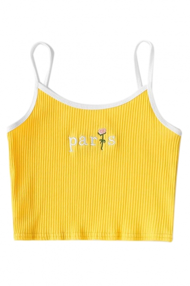Embroidered Cami Crop Straps Sleeveless Floral Letter Trim Contrast Spaghetti PARIS PzEO4xq