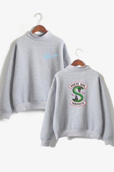 SOUTH SIDE Letter Snake Printed High Neck Long Sleeve Sweatshirt