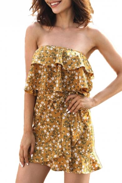 Tied Waist Floral Printed Strapless Sleeveless Ruffle Detail Mini Asymmetric Tube Dress