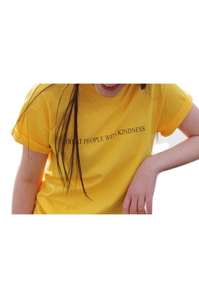 WITH Sleeve Tee KINDNESS PEOPLE TREAT Neck Short Printed Letter Round qzz85