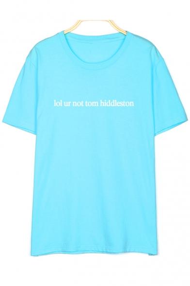 Round Sleeve NOT Letter UR TOM HIDDLESTON Printed Short Tee Neck gXZxaqU