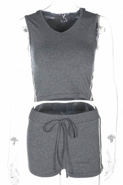V Neck Sleeveless Contrast Striped Side Hooded Tank with Drawstring Waist Shorts Co-ords
