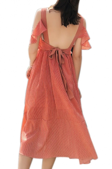 Cold Shoulder Hollow Out Back Short Sleeve Striped Printed Maxi A-Line Dress