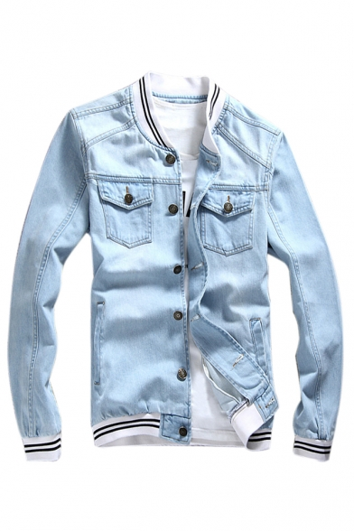 Купить со скидкой Contrast Striped Trim Stand Up Collar Long Sleeve Buttons Down Denim Jacket