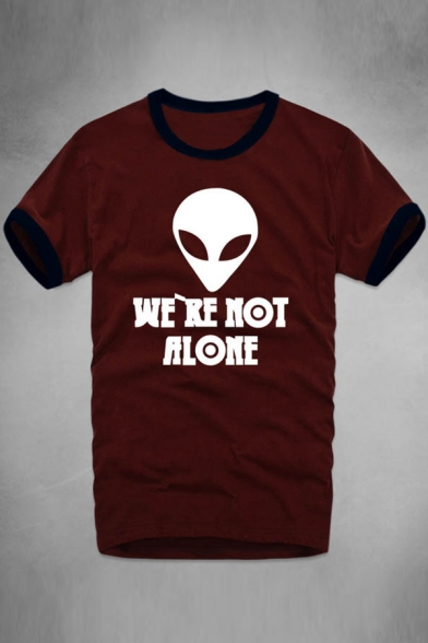 Contrast Trim Alien WE ARE NOT ALONE Letter Printed Round Neck Short Sleeve Tee