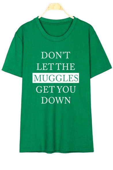 MUGGLES Printed Graphic Letter DON'T LET Short Tee Sleeve THE Round Neck wUIn6qE