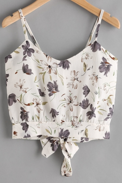 Baycheer / Floral Printed Tied Back Spaghetti Straps Sleeveless Crop Cami