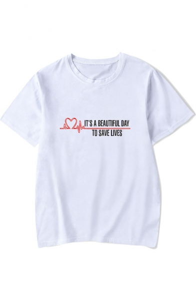 A Short Sleeve Neck Letter Pattern Heart IT'S Round BEAUTIFUL DAY Tee Printed q4USEnzSv