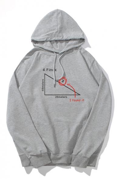 Letter Geometric Printed Long Sleeve Leisure Hoodie