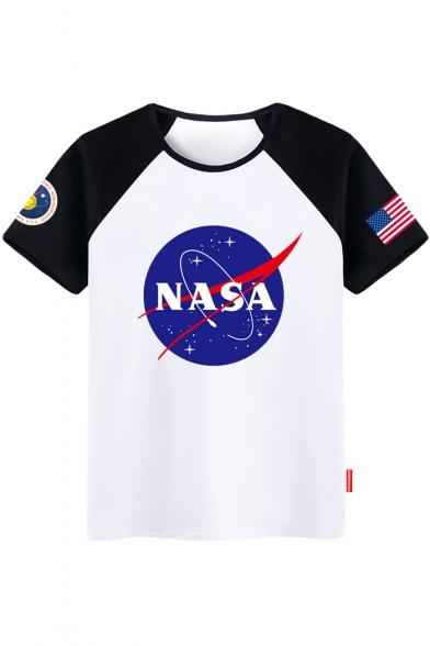 Pattern Color Tee Neck Sleeve NASA Short Round Block Starry BRw6ZxPqU