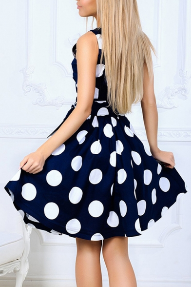 Polka Dot Printed Round Neck Sleeveless Tied Waist Midi A-Line Dress
