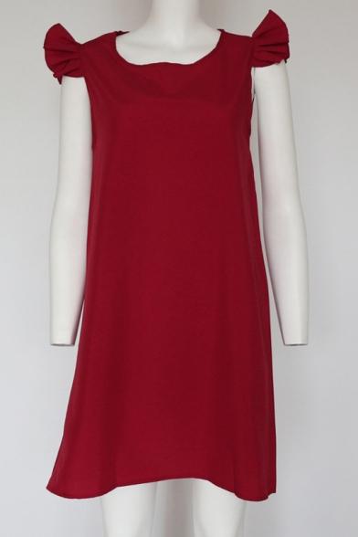 Ruffle Detail Short Sleeve Round Neck Plain Mini A-Line Dress