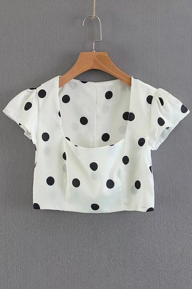 Neck Sleeve Blouse Printed Dot Square Polka Short Crop 6npEWdqW