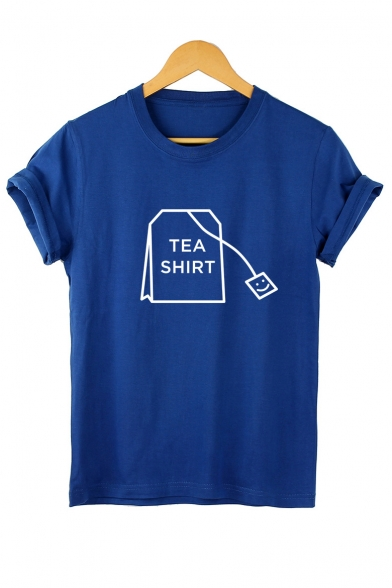 TEA SHIRT Round Letter Leisure Neck Tee Short Sleeve Printed rOqrdAw