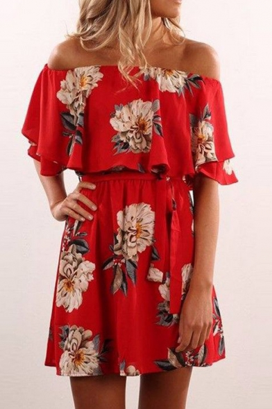 A Dress Floral Waist The Off Sleeve Tied Line Shoulder Mini Printed Short z6aP5IxWn