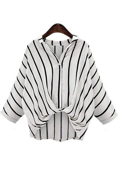 V Neck Lapel Collar Striped Long Sleeve Twist Hem Loose Shirt