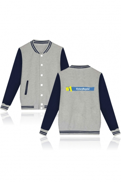 Color Sleeve Long Down Block ROYALE Baseball VICTORY Buttons Printed Jacket Letter wq77gt