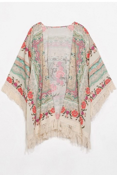 Vintage Batwing Sleeve Floral Printed Tunic Kimono with Tassel