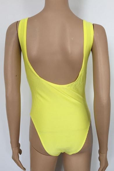 Zipper Front Sleeveless Open Back Plain One Piece Swimwear