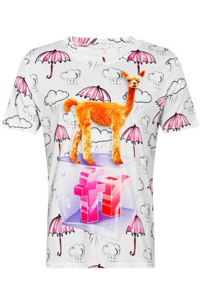 Alpaca Umbrella Printed Round Neck Short Sleeve Tee