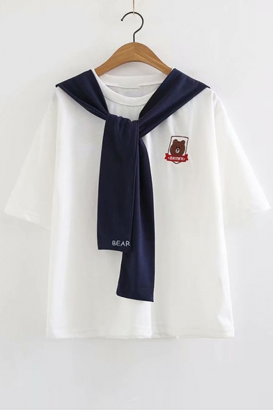 Sleeve Letter Short Bear Tee Collar Sailor Embroidered H6WWC8q