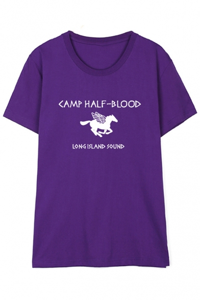 HALF Tee Short Sleeve Neck BLOOD Round Printed CAMP Letter Horse CnxzdfqdwO
