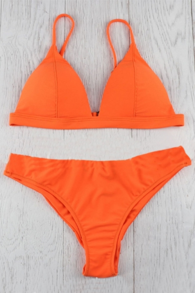 Straps Bikini Plain Sleeveless Basic Spaghetti Chic q78F7