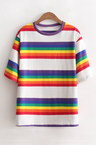 Color Short Sleeve Tee Round Block Colorful Neck Printed Striped g7Zgwq