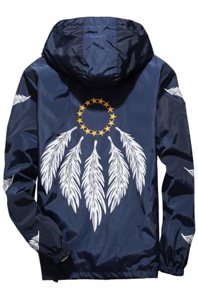 Feather Pentagram Printed Long Sleeve Zip Up Hooded Coat