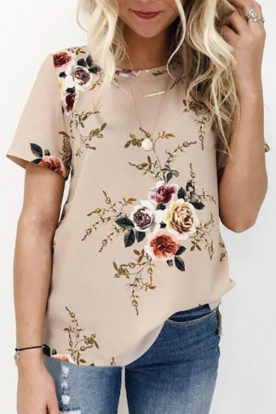 Leisure Printed Short Neck Round Floral Tee Sleeve 6Bqgw