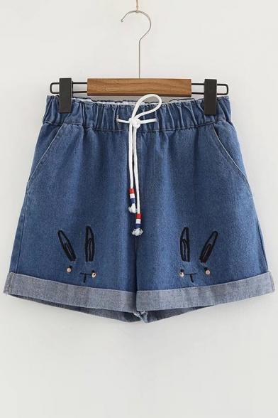Купить со скидкой Rabbit Embroidered Drawstring Waist Loose Denim Shorts