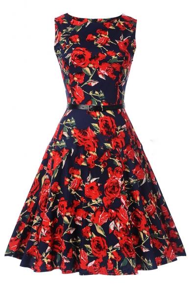 Retro Floral Printed Round Neck Sleeveless Midi A-Line Dress