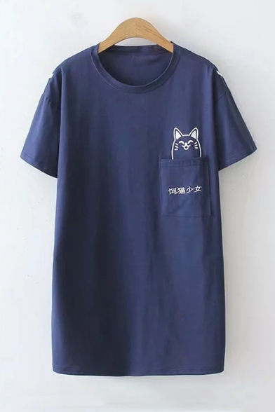 Pocket Neck Sleeve Short Round Tee Chinese Embroidered Cat Printed FqwtxU6p