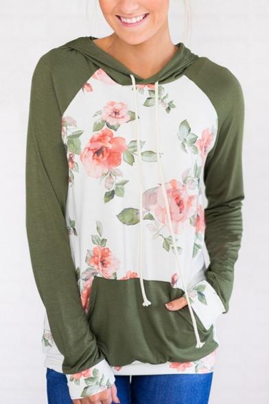 Color Block Floral Printed Long Sleeve Leisure Loose Hoodie