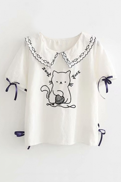 Bow Tee Embroidered Sleeve Navy Cat Embellished Cute Collar Short U8YYq