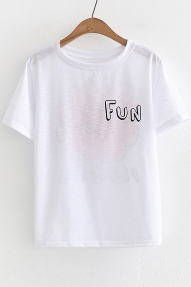 Printed Floral Short FUN Round Letter Tee Sleeve Neck BExfUx