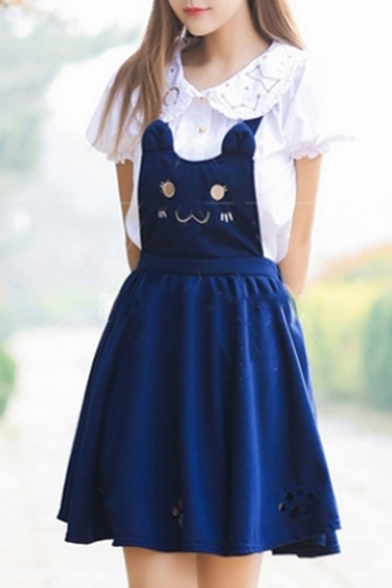 Detail Overall Hollow Out Dress Cat Mini Lovely Embroidered RIOPY