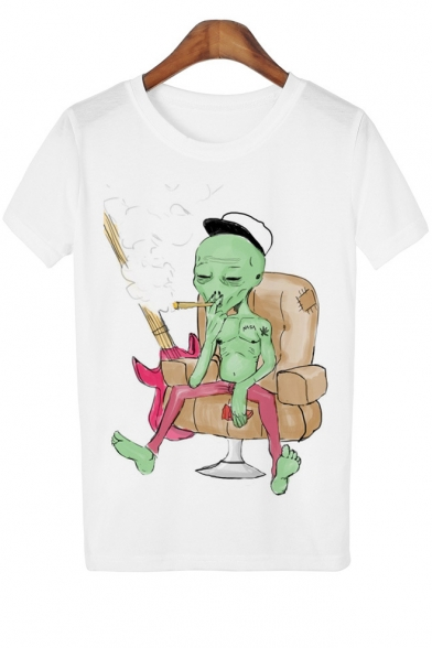 Smoking Alien Printed Round Neck Short Sleeve Leisure Tee