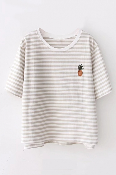 Pineapple Embroidered Short Neck Tee Printed Striped Round Sleeve 5X6cxEScqw