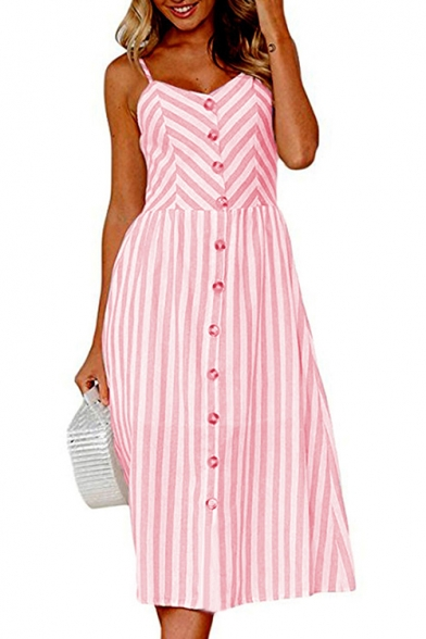 Dress Printed Buttons line Straps A Maxi Striped Down Spaghetti Sleeveless 1x4wppUzq