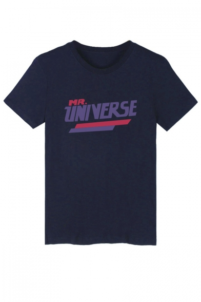Neck Sleeve Short Graphic Letter Tee Printed Round UNIVERSE TUqptwv