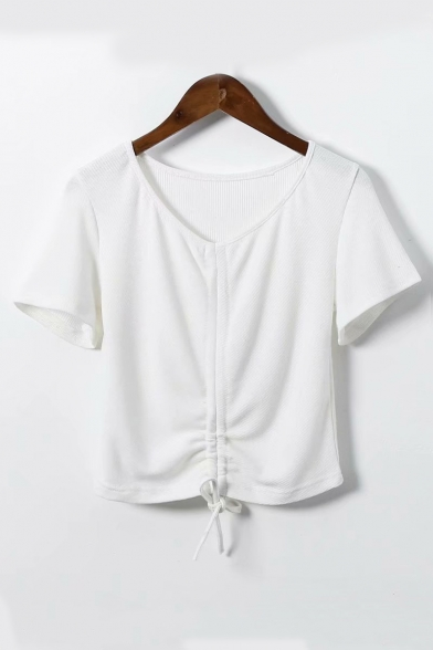Neck Crop Tee Sleeve Short Plain Hem V Drawstring dxfpS6dq