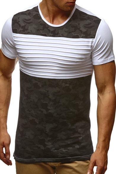 Round Short Tee Block Color Neck Camouflage Printed Sleeve 46xWwqHaxn