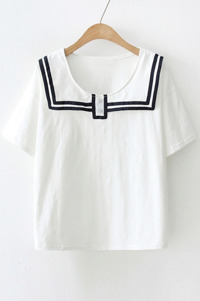 Contrast Striped Navy Collar Buttons Embellished Short Sleeve Leisure Blouse