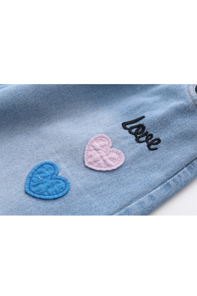 LOVE Letter Heart Embroidered Drawstring Waist Straight Crop Jeans