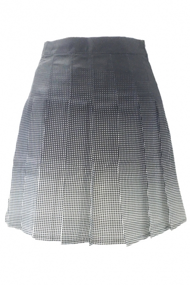 Ombre Plaid Printed High Waist Mini A-Line Pleated Skirt