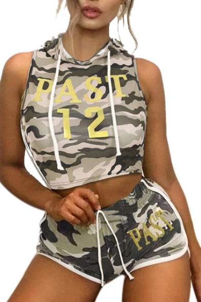 PAST 12 Letter Camouflage Printed Sleeveless Crop Hooded Tank with Hot Pants Shorts Co-ords