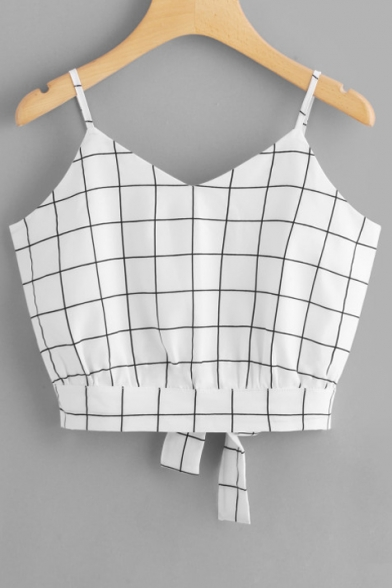 Straps Sleeveless Cami Printed Spaghetti Plaid Crop wqET7nW1